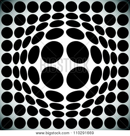 Circle Pattern With Bulge Distortion. Vector Art.