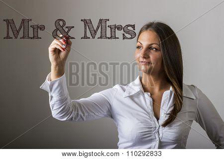 Mr & Mrs - Beautiful Girl Writing On Transparent Surface