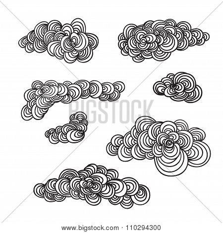 Set Of Decorative Hand Drown Clouds.