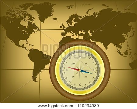 Old style world map with compass.