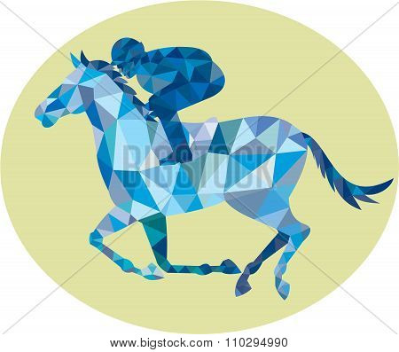 Jockey Horse Racing Oval Low Polygon