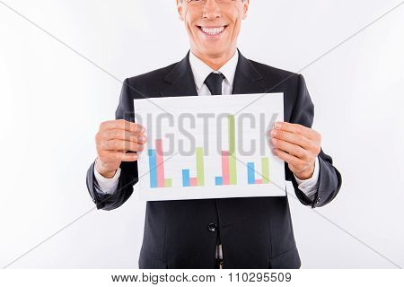 Closeup Photo Of Happy Aged Man In Business Suit Showing A Business Plan