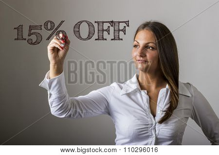 15 Percent Off - Beautiful Girl Writing On Transparent Surface