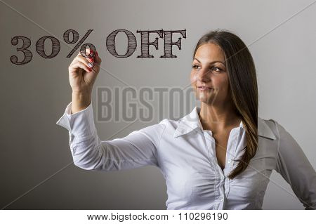 30 Percent Off - Beautiful Girl Writing On Transparent Surface