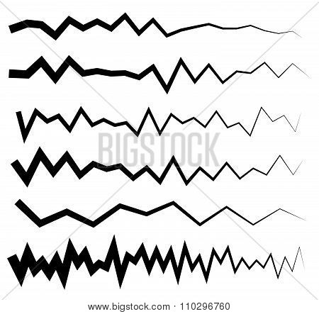 Set Of Wavy, Zigzag Horizontal Lines, Dividers.