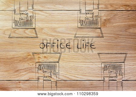 Desk With Many Laptops And Text Office Life