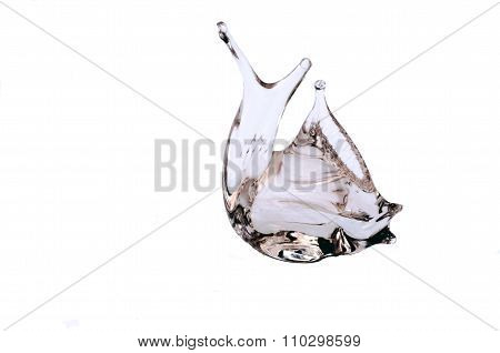 Sculpt Of A Fish In Pink Glass Isolated In White Background