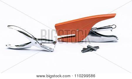Orange Stapler, Steel Staple Remover, Metal Staple In White Background Office