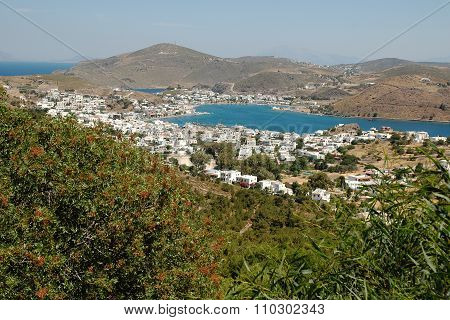 View of Patmos island from Chora, town of Skala, the main port