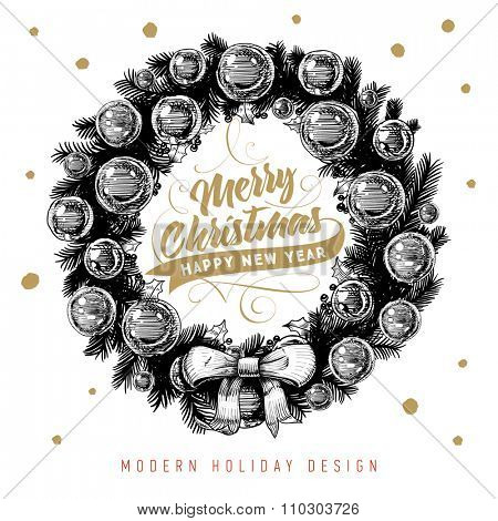 Christmas Wreath with Bow and Xmas Baubles. Typographic and Calligraphic Elements.