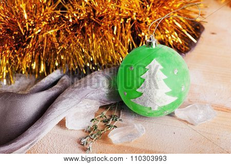 Christmas toy with a tree sign idea, space,