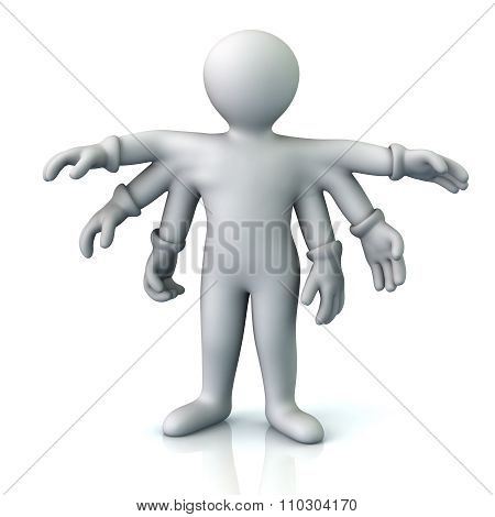 Cartoon Character Man With Six Hands