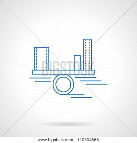 Income analysis blue flat line vector icon