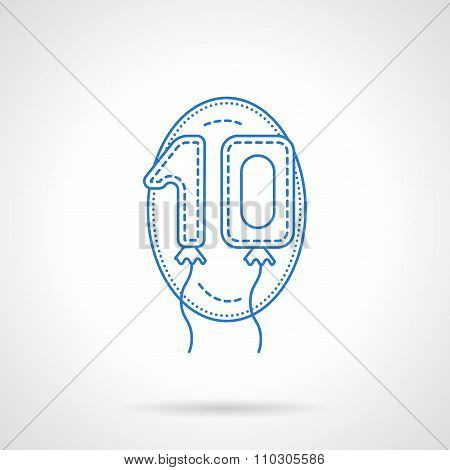 Balloon numbers blue line vector icon