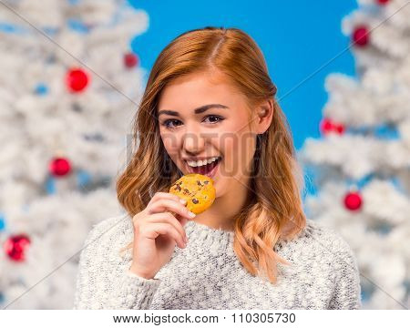 Woman Celebrating Christmas