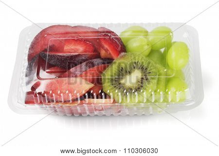 Mixed Cut Fruits in Plastic Box on White Background