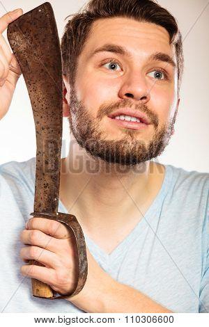 Young Man Shaving Having Fun With Machete.