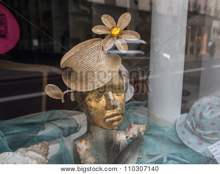 Mannequin Head With Whimsical Hat In Paris Shop Window