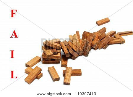 The Wood Tower Blocks Collapsed , Abstract Meaning Business Failure