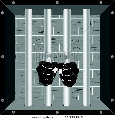 Prison Bars Freedom With Hand Vector Illustration