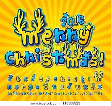 Yellow-blue christmas comic font. Alphabet in style pop art