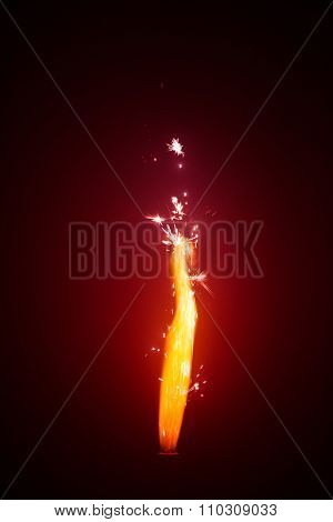 firework sparkler with red glow