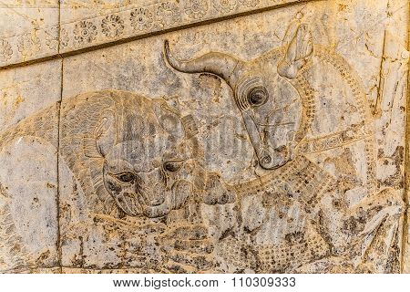 Lion and bull relief detail in Persepolis