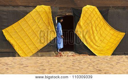 ERG CHIGAGA, MOROCCO SAHARA - OCTOBER 23 2015: Touareg in Sahara Desert, Africa