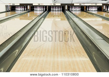 Close Up Of Bowling Pins In A Row