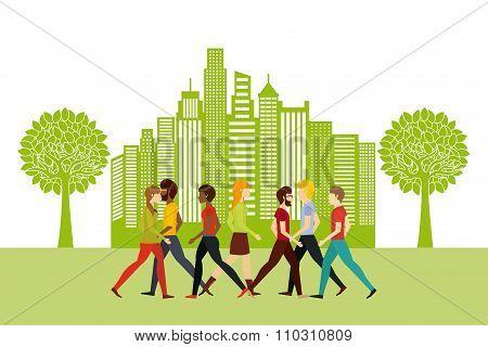 people walking design