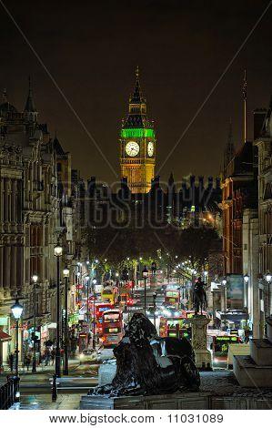 Looking Down Whitehall Towards Big Ben From Trafalgar Square, London, England, Uk, At Night