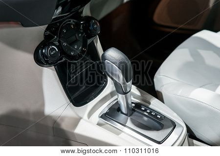 Car Interior : Automatic Transmission Gear Shift And Air Conditioning Button Inside Car
