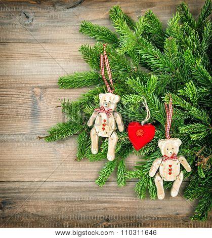 Christmas Decoration. Vintage Style Toys Teddy Bear