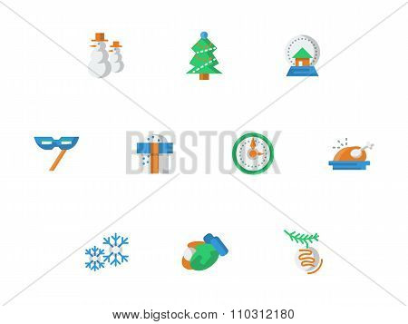 Winter entertainment flat color vector icons set