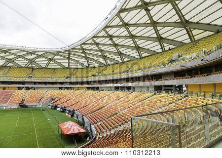 MANAUS, BRAZIL - CIRCA MARCH 2014: The famous Amazonia Stadium in Manaus, Brazil.