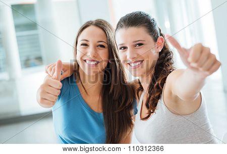 Cheerful Girls Thumbs Up