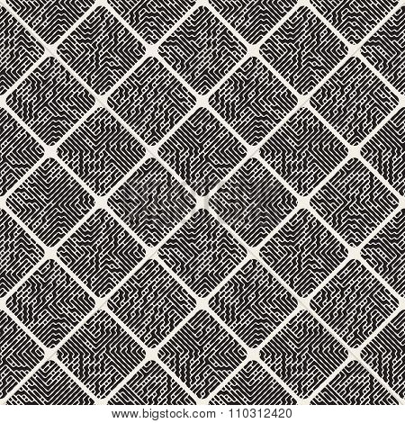 Vector Seamless Black And White Rounded Rhombus Pavement Fillesd With Maze Lines Pattern