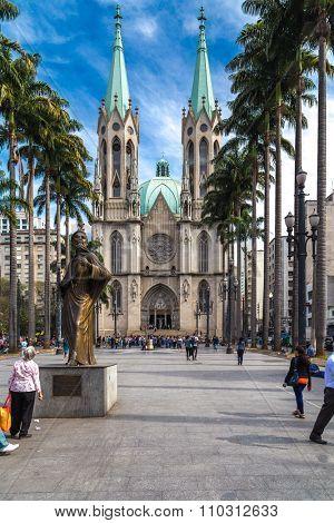 SAO PAULO, BRAZIL - CIRCA AUGUST 2014: Se Cathedral in Sao Paulo, Brazil