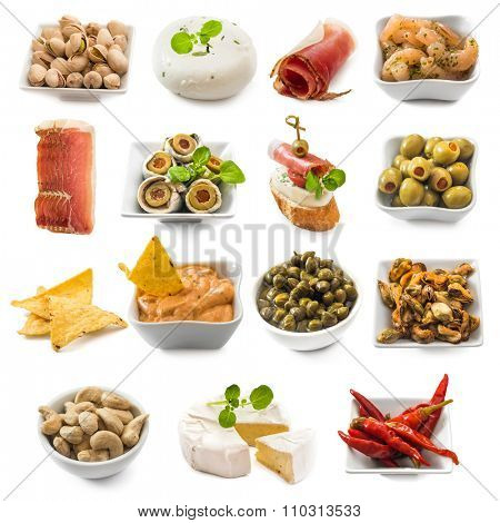 photo collage of spanish tapas  isolated on white background