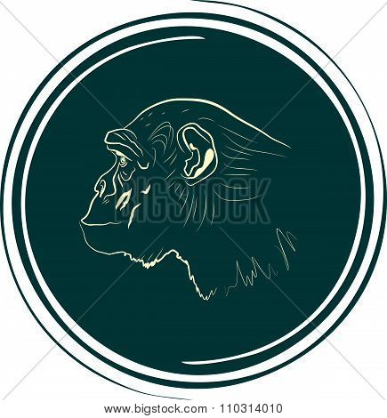 monkey face outline silhouette