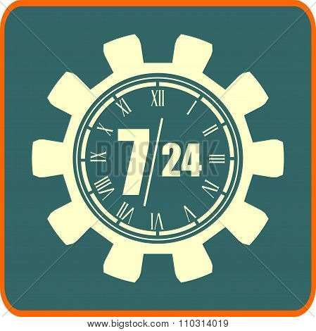 clock in gear and symbols 7, 24