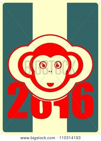 monkey icon and 2016 new year number
