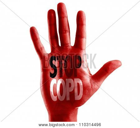Stop COPD written on hand isolated on white background