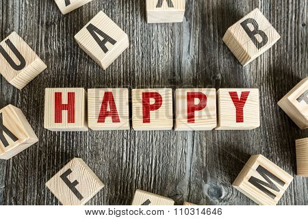 Wooden Blocks with the text: Happy