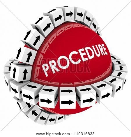 Procedure word on red sphere with arrow boxes encircling it to represent a system, process or method for performing a task or doing a job following organized instructions