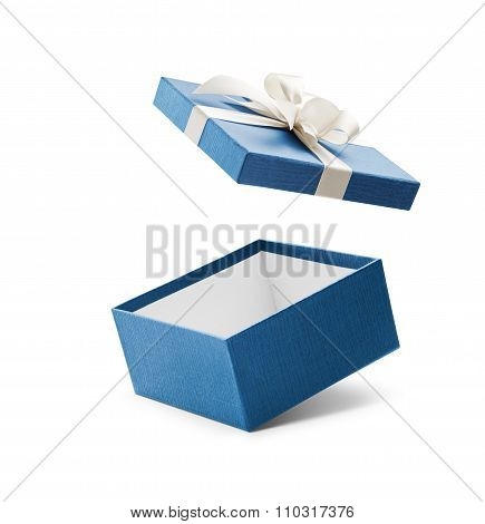 Blue Open Gift Box With White Bow