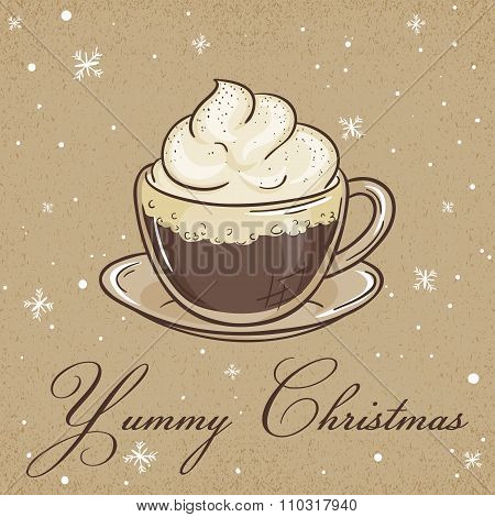 Vector Illustration Of Christmas Kraft Paper Card With Viennese Coffee Label And Snowflakes. Can Be