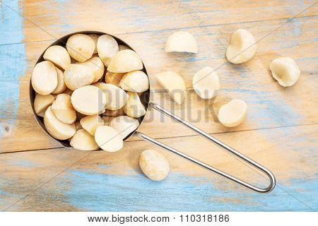 macadamia nuts in a metal measuring scoop (1/2 cup) against rustic barn wood