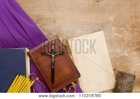 Catholic Wooden Crucifix On The Prayer Book