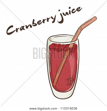 Vector Printable Illustration Of Isolated Cup Of Cranberry Juice With Label
